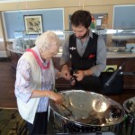 Anthony even stayed after and taught resident Viola how to play the Steel Drum.
