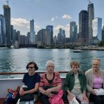 Sheila, Arlene, Bev and Betty enjoying the skyline from the boat ride.